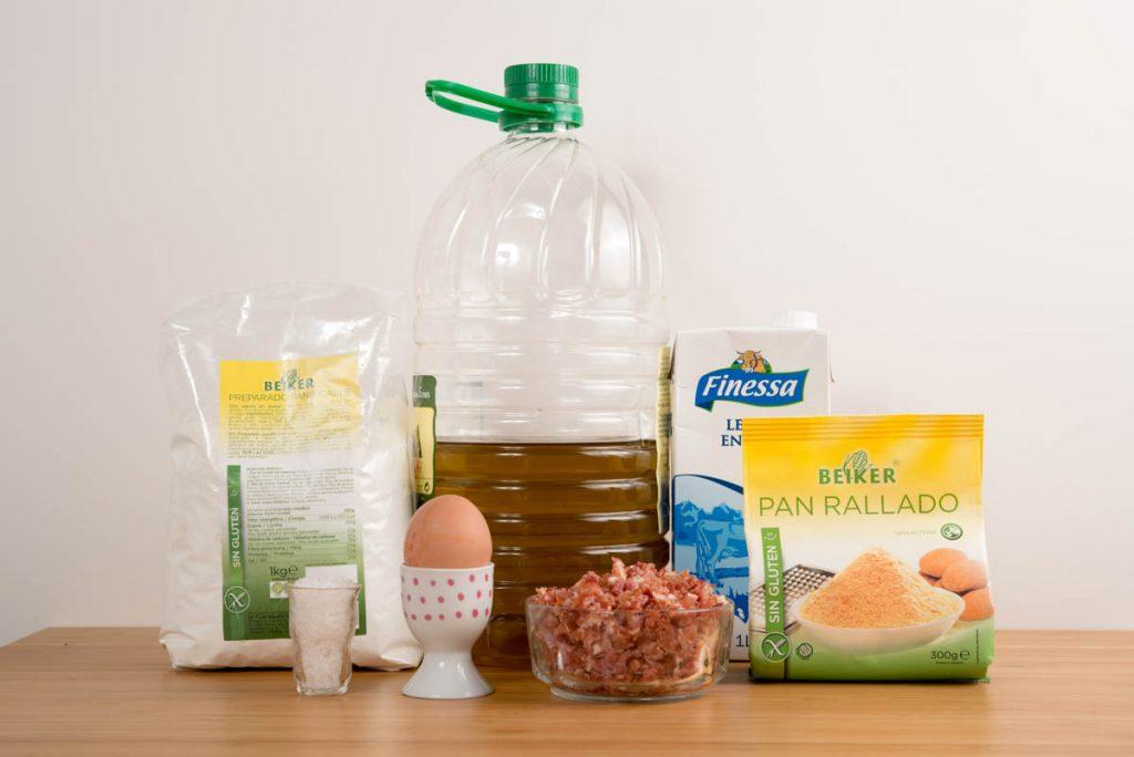 Ingredientes para las croquetas de jamón