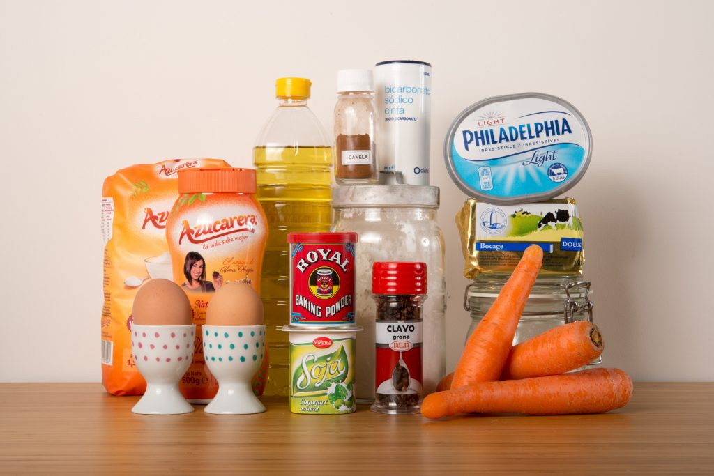 Ingredientes para la Carrot Cake gluten free
