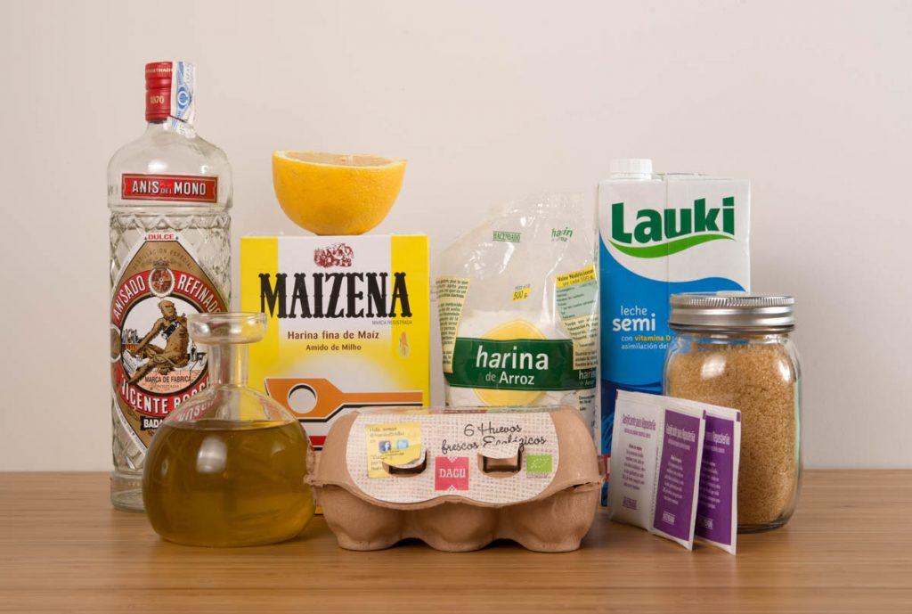 Ingredientes para rosquillas de anís sin gluten